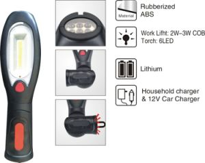 F310b-7A 3W COB and 6 LED Torch Rechargeable Portable Work Light LED Work Lamp