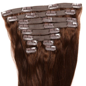 New Arrival Brazilian Body Wave Clip in Extension 8 Pieces Clip in Human Remy Hair Wavy Dark Brown Hair Color Clip in pictures & photos