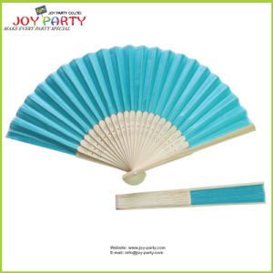 Turquoise Blue Cloth Hand Fan Bamboo Ribs
