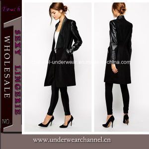 Hot Sale Black Lady Clothes Winter Long Coat (TONY8029) pictures & photos
