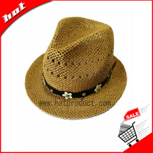 Woven Paper Straw Fedora Sun Hat pictures & photos