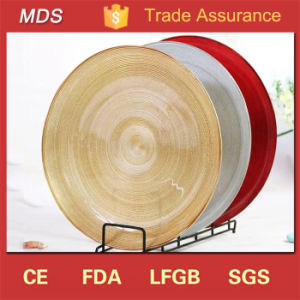 Cheap Round Wedding Decoration Gold Lining Underplates Glass Plate pictures & photos