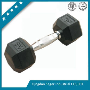 Hex Rubber Coating Cast Iron Dumbbell Sets for Sale pictures & photos