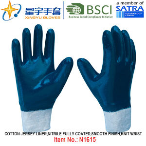 Cotton Jersey Shell Nitrile Coated Safety Work Gloves (N1615) pictures & photos