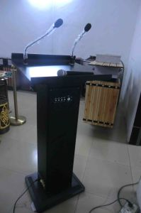 Smart Lectern with Built-in Wireless Microphone, Lectern Podium