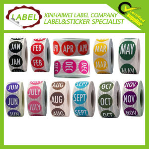 3/4 Inch Circle Colored Month Adhesive Sticker for Marking