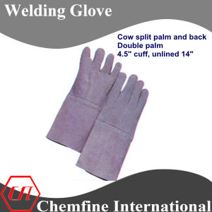 Cow Split Palm and Back, Double Palm, Unlined Leather Welding Glove pictures & photos