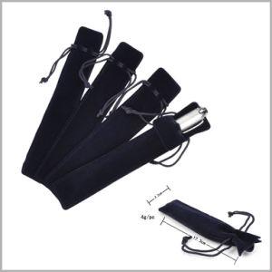 Soft Black Pen Velvet Bag with Line, Velvet Pen Gift Bag pictures & photos