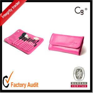 10PCS Pink with Logo Print Makeup Brush Set pictures & photos