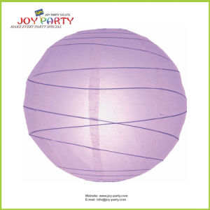 Light Purple Irregular Ribbed Round Paper Lantern