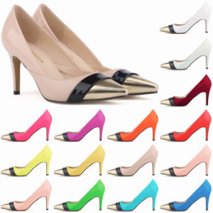 Multi Colour Joint PU Leather Women Heels