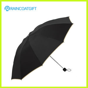 Cheap Promotional Black 3 Fold Umbrella pictures & photos