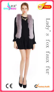 Lady Faux Fake Fox Wool Rabbit Fur Short Vest Waistcoat Sleeveless Garment (SR-5001)