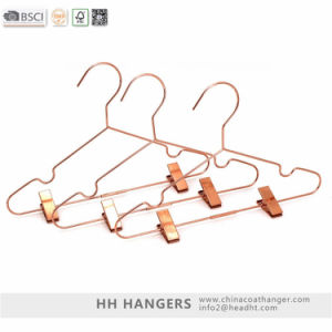 Rose Gold Drying Metal Wire Clothes Hanger with Clips pictures & photos