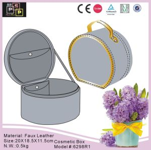 Grey Color Customize Round PU Leather Vanity Case (6298) pictures & photos