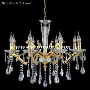 Gold Finish 8-Light Crystal Chandelier Lamp with 40W/60W