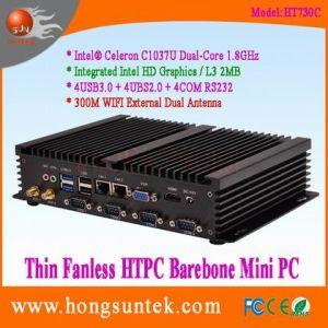 Ht730c Intel Celeron 1037u Aluminum Fanless Dual Core HTPC Barebone Mini PC with Gigabit Ethernet, WiFi, USB and COM RS232