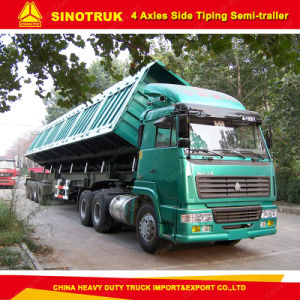 4 Axles Heavy Duty Side Dump/Tipper Semi Trailer for Sale pictures & photos