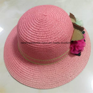 100% Straw Hat, Fashion Style with Flowers Decoration for Children pictures & photos