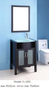 Solid Wood Bathroom Vanity with Glass Basin pictures & photos