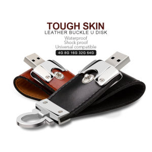 Leather USB Flash Drive 64GB 32g 16g 8g Pen Drive Flash Memory Stick (TF-0249) pictures & photos