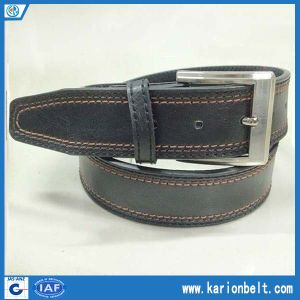 Men′s Split Leather Belt with Double Stitching on The Strap and Silver Buckle, Various Color Are Available (40-13289)