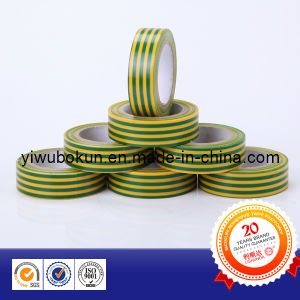 PVC Electrical Tape Green with Yellow Stripe Isolated Ground pictures & photos