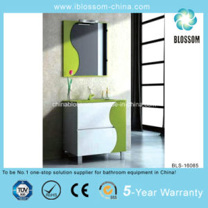 Green and White Color Cabinet Bathroom Vanity (BLS-16085) pictures & photos