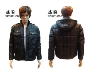 Mens Fashion Hoody PVC Printed Lining Padding Coat (SY-1532) pictures & photos