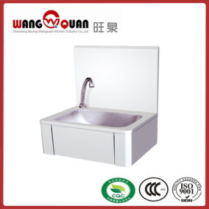Factory Knee Push Type Wall Sink with High Splashback pictures & photos