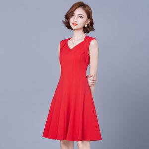 Custom Trendy Ladies Red Korean Career Dresses pictures & photos