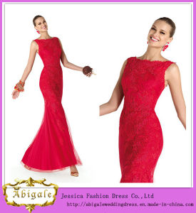 Elegant Brand Name Floor Length Mermaid Scoop Neck Sleeveless Lace Elie Saab Red Dress (WD61)