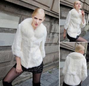 Women′s Winter Warm 100% Rabbit Fur Short with Fox Fur Collar pictures & photos