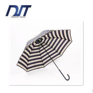 Curved Navy Stripe Long Handle Straight Umbrella Arch Sun Umbrella pictures & photos