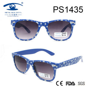 Classical Style Spot Pattern Sky Blue Frame PC Sunglasses (PS1435) pictures & photos