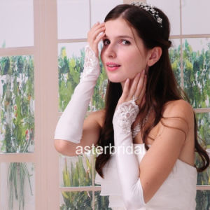 White Satin Beading Fingerless Wedding Gloves Bridal Gloves Zsv001