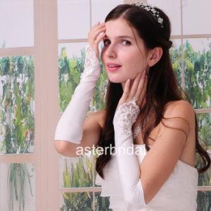 White Satin Beading Fingerless Wedding Gloves Bridal Gloves Zsv001
