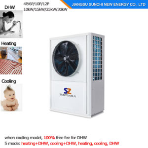 North Europe -25c Winter Floor Heating 100~350sq Meter Room 12kw/19kw/35kw High Cop Auto-Defrost Evi Split Air Source Heat Pump System pictures & photos