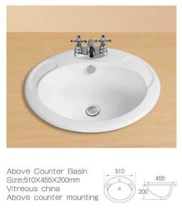 Above Counter Ceramic Wash Basin, Above Mounting Ceramic Wash Sinks pictures & photos