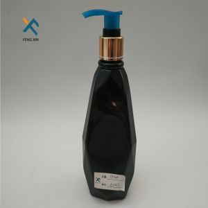 300ml Shine Black Plastic Skin Cream Bottle with Aluminum Pump pictures & photos