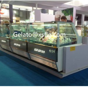 White Straight Glass Ice Cream Showcase pictures & photos