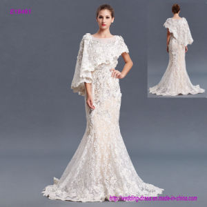 New Arrival Elegant Fashionable Shawl Style Transparent Lace Evening Dress pictures & photos