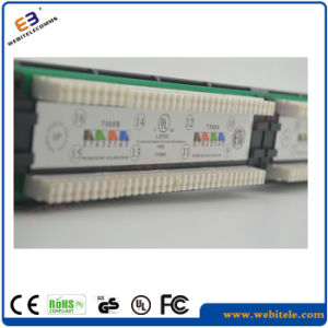 Cat5e LED Patch Panel 1u 19′′ 24 Ports RJ45 Krone Jackets, Steel Panel 24port Patch Panel pictures & photos