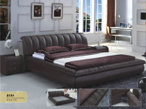 Ciff Hot Sell Leather Bed for Kd Furniture (818) pictures & photos