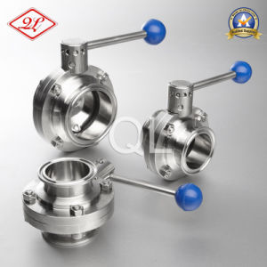 304/316L Sanitary Stainless Steel Weld Threated Clamped Butterfly Valve pictures & photos