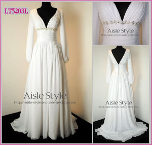 Chiffon Evening Gown With Long Sleeves (LT5203L)