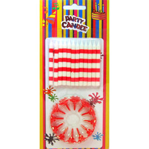 Red and White Silkscreen Birthday Party Candles (SYC0130)