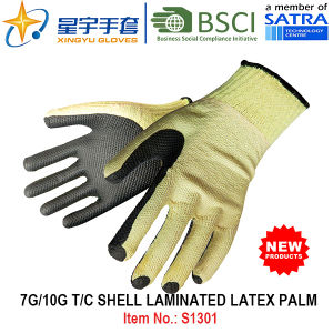 7g/10g T/C Shell Laminated Latex Palm Safety Work Glove (S1301) with CE, En388, En420 for Construction Use Gloves pictures & photos