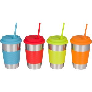 Stainless Steel Cups with Silicone Lids, Sleeves and Straws, 16 Oz Stainless Steel Tumblers by Steelware pictures & photos