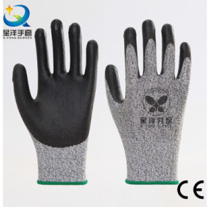 PU004 Cut Resistance PU Coated Safety Work Glove Level 3 or 5 pictures & photos